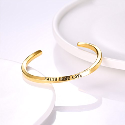 U7 FAITH HOPE LOVE Engraved Bangle Inspirtional Jewelry 18K Gold Plated Plated Twisted Cuff Bracelet by U7 (Image #3)