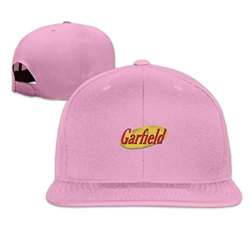 - Snapback Flatbrim Baseball Cap Cotton Adjustable Hip Hop Hat Unisex Outdoor Sport Strap Printed with Garfield Meets Seinfeld Pink