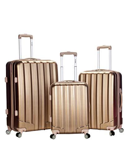 Rockland Luggage 3 Piece Metallic Upright Set, Bronze, Medium Bronze Large Rolling Luggage