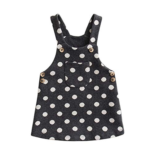 marc janie Little Girls Autumn Polka Dots Overalls Baby Girls Knitted Jacquard Dress Polka Dots 3T (90 cm) by marc janie