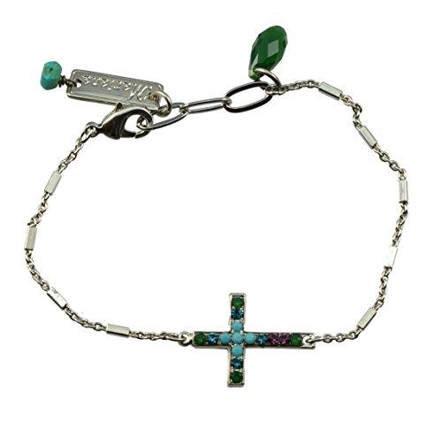 "Mariana ""Inspire Silver Plated Crystal Sideways Cross Bracelet"