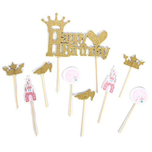 PAPER JAZZ Set of 9 Glitter Gold Happy Birthday Cake Toppers Kit Baby Girl Little Princess First Birthday Party Baby Shower Supplies(Pricess Girl)
