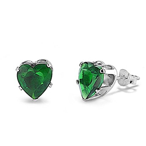 Stud Post Heart Earring Simulated Green Emerald CZ 925 Sterling Silver