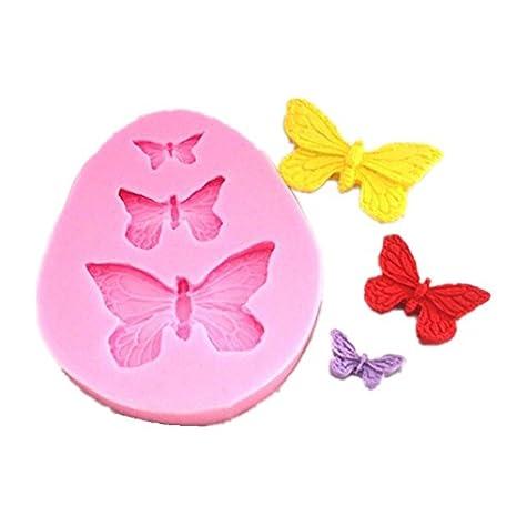 Allforhome - Molde de Silicona 3 Cavidades con Forma de Mariposa Para Manualidades, Dulces, Goma, Pasta, Decoración de Pasteles: Amazon.es: Hogar