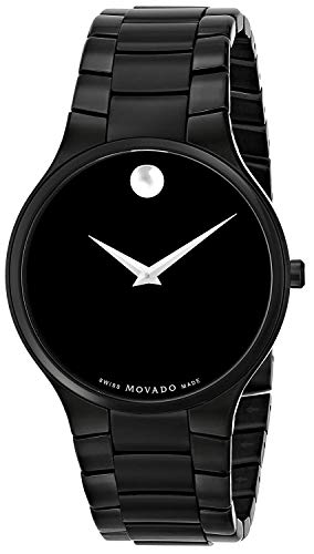 Movado Men's SERIO Black Dial Black PVD Bracelet Slim Watch