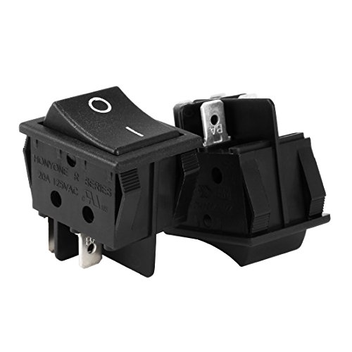 uxcell DPST 4Pin 2 Position I/O Boat Rocker Switch Black AC 20A/125V 22A/250V