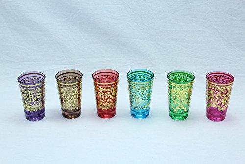 DONREGALOWEB Juego de 6 Vasos de te de Cristal Dibujos etnicos Surtidos en Color Dorado
