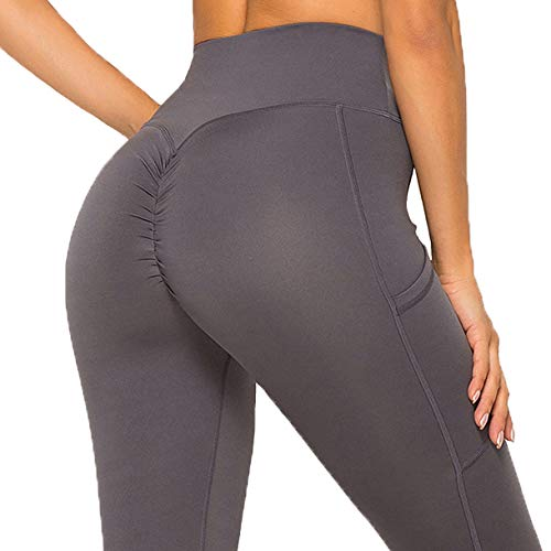 FITTOO Women's Pockets High Waisted Booty Workout Leggings Butt Lifting Scrunch Yoga Pants Ruching Tights Dark Grey XL (Best Yoga Pants Cameltoe)