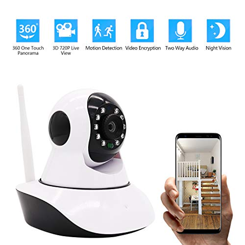 Home Security Camera HD 720P Wireless IP Monitor Camera Surveillance 360° with Night Vision Motion Detection Playback Activity Alert 2-Way Audio Dome Home Monitor for Baby Elder Pet Pan/Tilt/Zoom