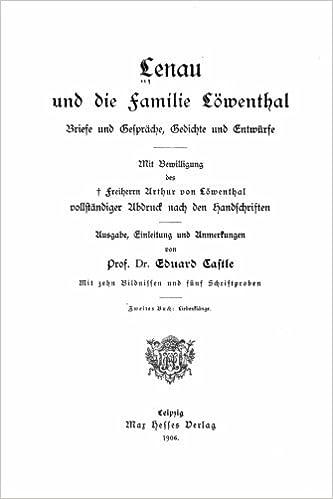 Lenau Und Die Familie Löwenthal Briefe Und Gespräche