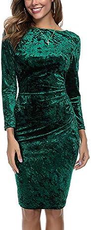 InsNova Women's Long Sleeve Crushed Velvet Ruched Bodycon Midi Dresses for Party Wedding G
