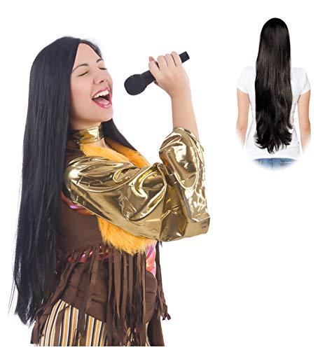 Wig Cher Costume Wig Long Straight Wig Kim Mortia Wig Black ()