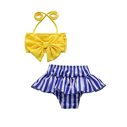 Toddler Baby Girl Swimsuit Bow Strap Crop Top+Striped Ruffled Shorts Swimwear Bikini Tankini Bathing Suit(Yellow, 4-5T)
