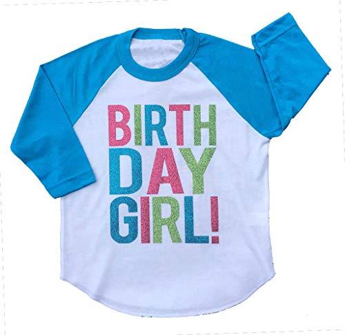 SoRock Birthday Girl Toddler Kids T-Shirt White w/Blue 3/4 Sleeves 2T (Sleeve 3/4 Birthday)
