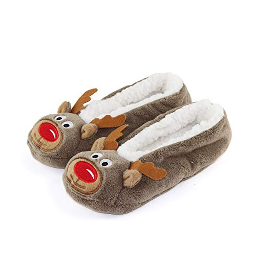 - Womens Warm Cozy and Lovely Animal Non-Skid Knit Indoor Home Floor Slippers Socks for Adults Girls ... (4-6, Brown Elk)
