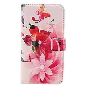 TY-Acuarela del patrón de flor de la PU de cuero con la caja suave y ranura para tarjeta para la galaxia de Samsung i9600 S5