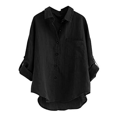 CUCUHAM Women Long Sleeve Casual Loose Tops T Shirt Button Blouse