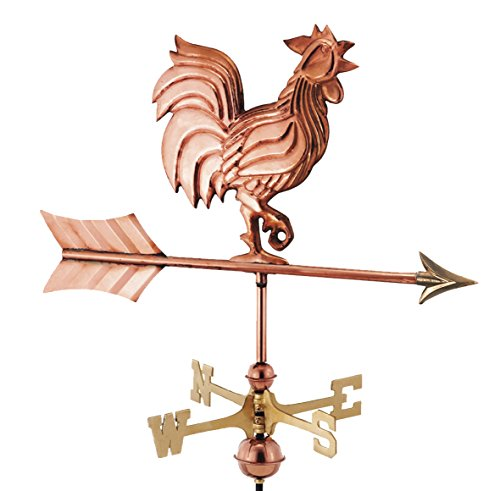 Good Directions Rooster Garden Weathervane with Garden Pole, Pure - Brass Country Mount Deck