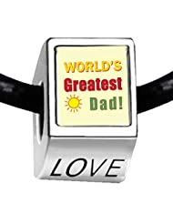 Silver Plated World's Greatest Dad LOVE Bead Charm Bracelets