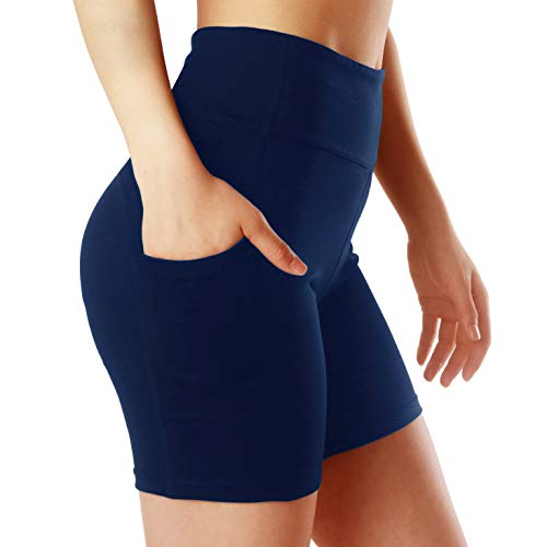ChinFun Women's Yoga Shorts High Waist Tummy Control Inner Pocket 4 Way Stretch Workout Running Shorts Side Pockets Navy Size M ()