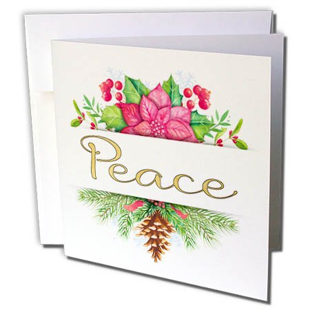 3dRose Anne Marie Baugh - Christmas - Pretty Christmas Poinsettia Floral With Peace In Gold Illustration - 1 Greeting Card with envelope (gc_266717_5) -