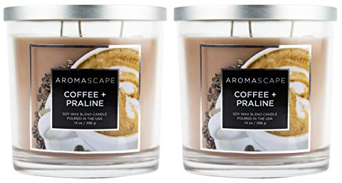 (Aromascape 3-Wick Scented Jar Candle, Coffee & Praline (2-Pack))