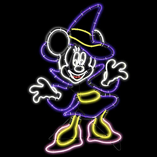 2 Foot Minnie Mouse Witch LED Lighted Halloween Sign - Simulated Neon Look -