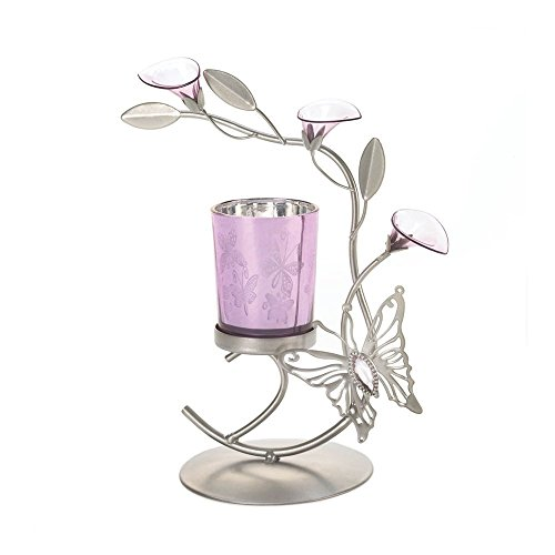 Koehler Home Décor Purple Butterfly Candleholder