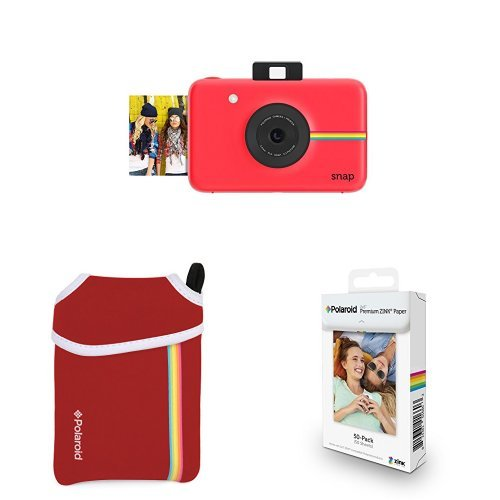 (Polaroid Snap Instant Digital Camera (Red) with ZINK Zero Ink Printing Technology w/ Polaroid 2x3 inch Premium ZINK Photo Paper (50 sheets) w/Polaroid Neoprene Pouch with Belt Loop for Snap Instant Camera, Red)