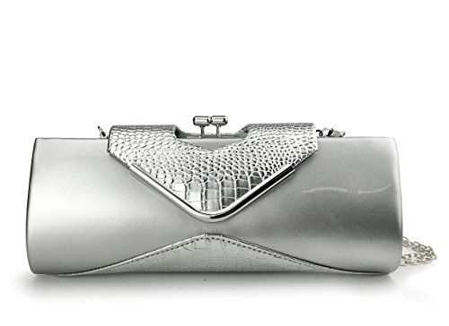 - Women's Glossy Crocodile Pattern Evening Clutch Bag with Chain Strap Kiss Locked Party Envelope Purse (Silver)