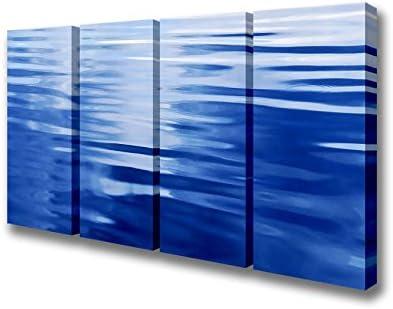 Cuatro Panel de ondas en el agua azul lienzo Prints, azul, Extra Large 40 x 80 inches: Amazon.es: Hogar