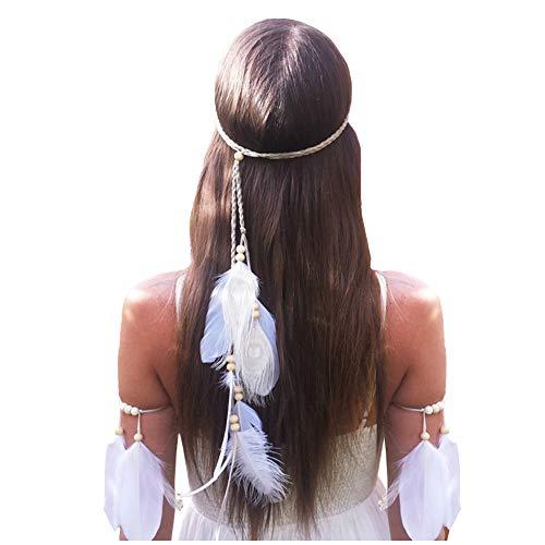 Feather Headband Hippie Indian Boho Hair Bands Tassel Bohemian Halloween Hair Hoop Women Girls Crown Hairband Party Decoration Headdress Cosplay Costume Headwear Headpiece Hair Accessories White Set