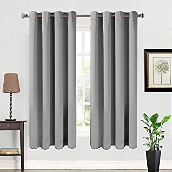 Eskimo Blackout Window Curtain Panel Grommet Top Drapes 2 Panel Set Room Darkening Thermal Insulated Blackout Drapes for Bedroom W52 x L63,Grey