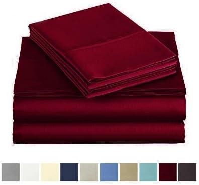 Audley Home 600 Thread Count Luxurious Bedding Set 4 Piece 1 Flat Sheet 1 Fitted Sheet 2 Pillow Cases 100 Long Staple Egyptian Cotton Sheet Set Burgundy, King