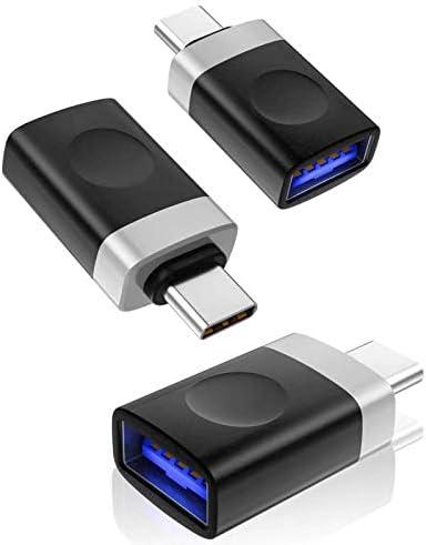 USB-C a USB 3.0 adaptador OTG [2-Pack], convierte USB-C en USB-A, compatible con MacBook Pro, Samsung Galaxy S8/S8 Plus, LG G6 V20, Google Pixel, Nexus 6P 5 x y más ...