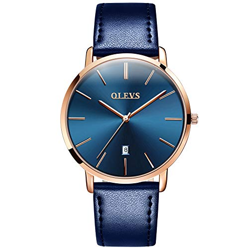 OLEVS Men's Ultra Thin Minimalist Slim Big Face Date Blue Leather Watches for Male Teen Boys Simple Casual Dress Large Dial Rose Gold Bezel Analog Quartz Wrist Watch Waterproof with Classic Band Gift