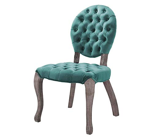 Wood & Style Furniture Exhibit French Vintage Dining Performance Velvet Side Chair, Teal Home Office Commerial Heavy Duty Strong Décor