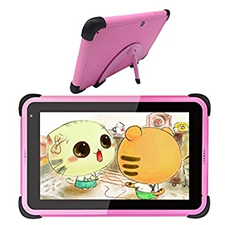 """Kids Tablets 7"""" 2GB RAM 32GB Storage Android 10 Kidoz Learning Tablet IPS HD Display WiFi Tablet for Girls, Compatible with Disney + APP, Pink"""