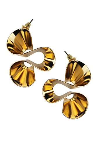 Mina Polished Gold Twisted Ribbon Wavy Twisty Curly Modern Abstract Statement Piece - Abstract Earrings