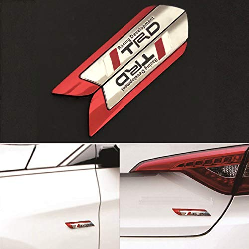 2x 3D TRD Red Car Truck Badge Fender Emblem Metal Chrome Decal Sticker For All Vehicles