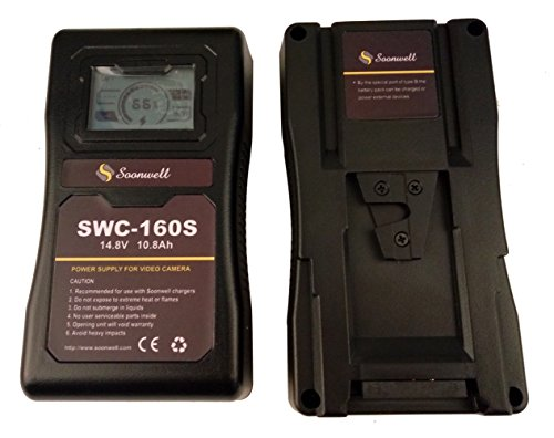 SOONWELL 160Wh 14.8V Sony V Lock Camera Battery Li-ion Rechargeable LCD Display Battery for DSLR Camera LED Light Monitor by SOONWELL