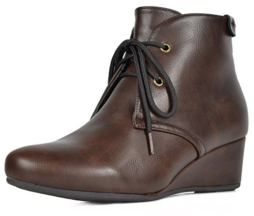 DREAM PAIRS Women's Ramona Brown Pu Low Wedge Heel Ankle Boots Size 8.5 M US