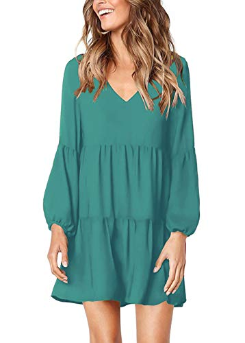 Mystry Zone 2XL Dresses for Women Comfy Lightweight Solid Plain T-Shirt Dress Lake Blue