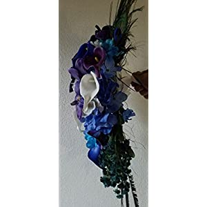 Purple Blue Turquoise Orchid Calla Lily Cascading Bridal Wedding Bouquet & Boutonniere 2