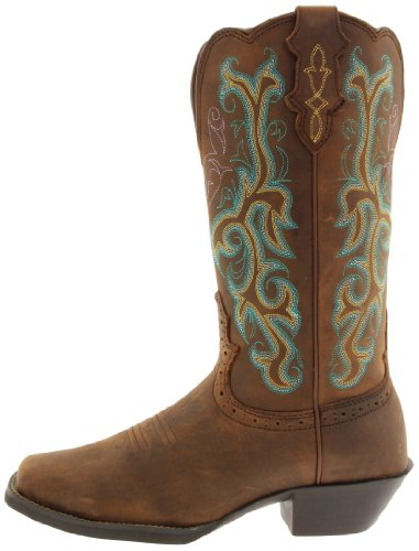 "Justin Boots Women's Stampede Collection 12"" Boot Wide Square Single Stitch Toe Western Rubber Outsole,Medium Brown,9 B US"
