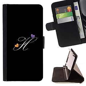 For Sony Xperia M5 E5603 E5606 E5653 Case , Negro Iniciales de la letra de la caligrafía del texto- la tarjeta de Crédito Slots PU Funda de cuero Monedero caso cubierta de piel