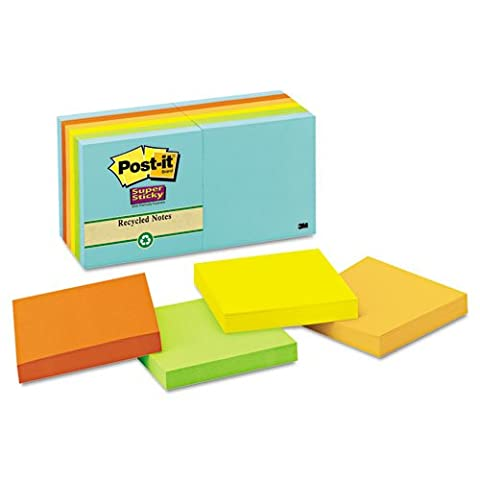 Post-it Notes Super Sticky Farmers Market Super Sticky Notes, Unlined, 3 x 3, 12 90-Sheet Pads/Pack - Hues Super Sticky Notes