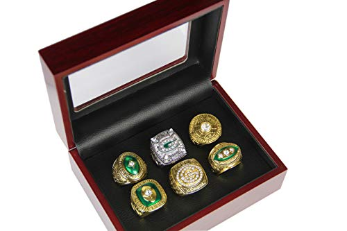 GF-sports store Set of 6 Green Bay Packers Championship Replica Ring by Display Box Set- Fashion Gorgeous Collectible Jewelry -