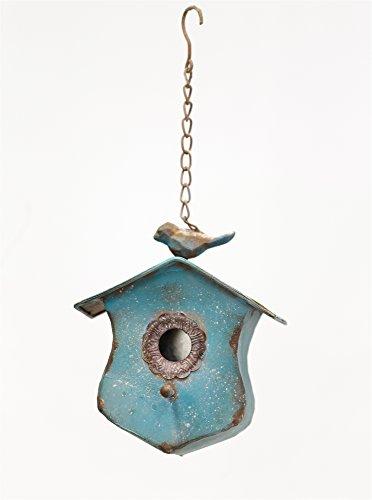 Antique Blue Tin Bird House with Bird Figurine and Chain Hanger