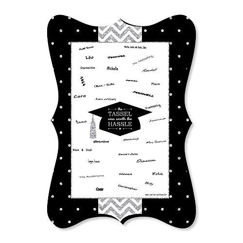 Silver - Tassel Worth The Hassle - Unique Alternative Guest Book - Graduation Party Signature Mat